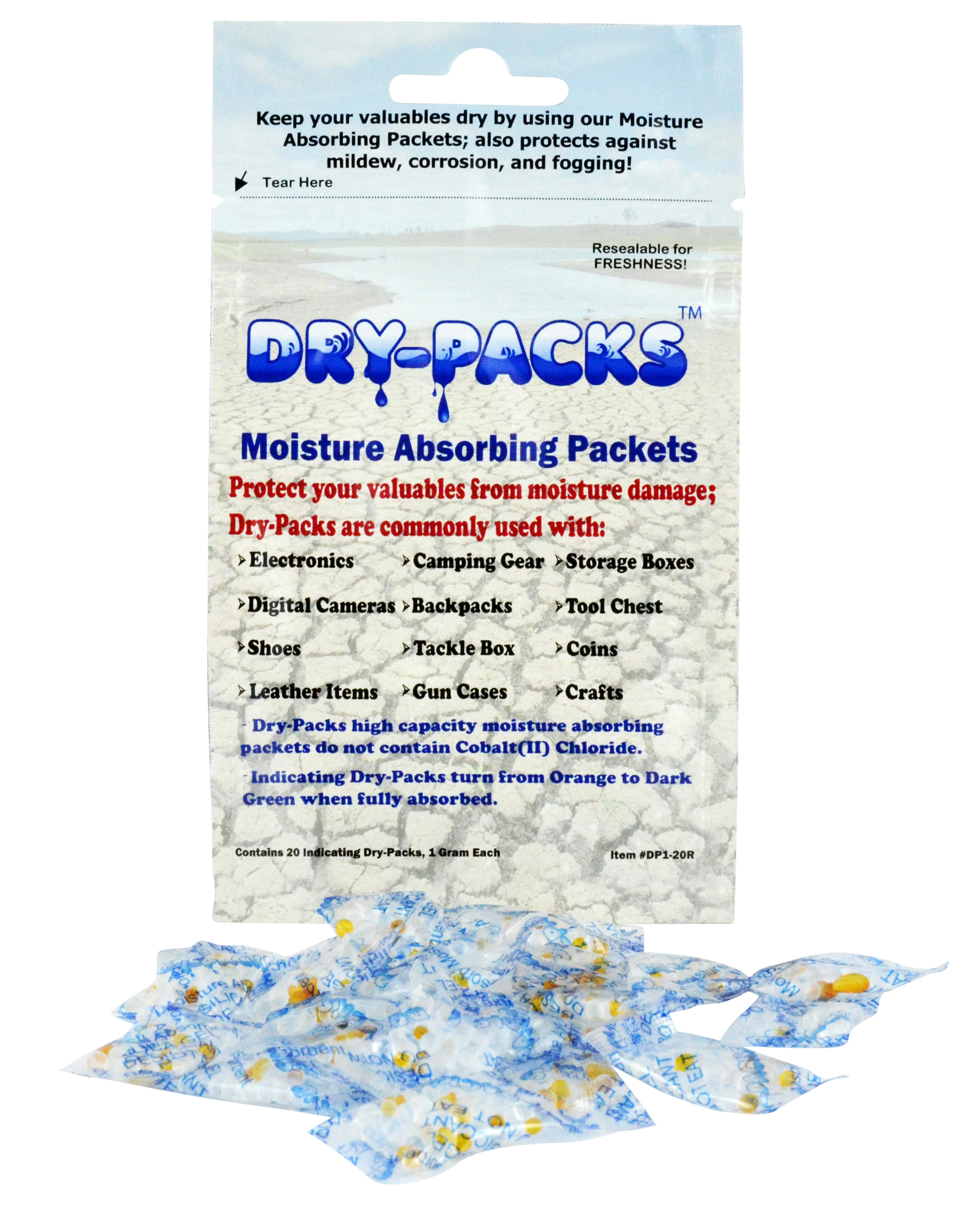 Dry-Packs Moisture Absorbing Silica Gel Indicating 1 Gram Packets (20-Pack)