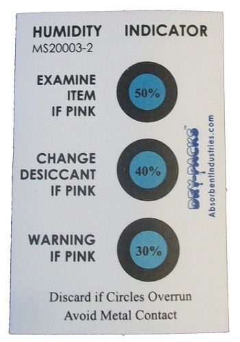 Humidity Indicator Card - 3 Dot 30%/40%/50% - MS20003-2