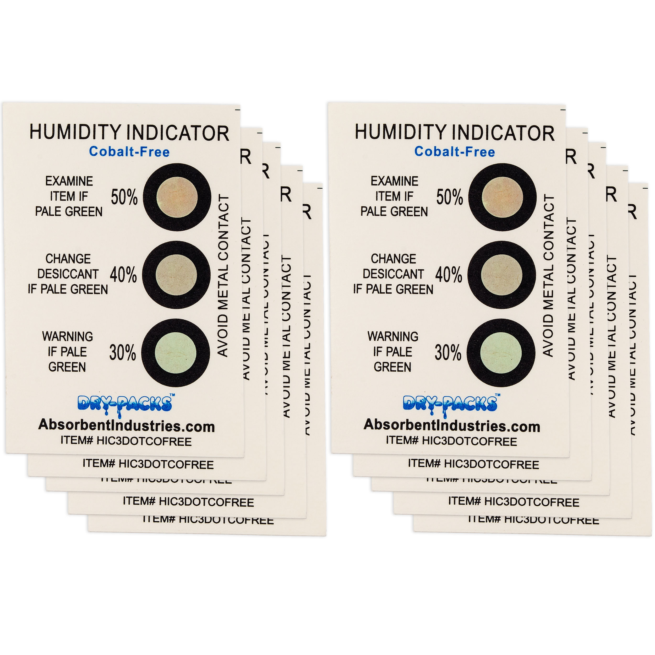 Cobalt Free Humidity Indicator Cards 10 Pack - 3 Dot 30% - 50%
